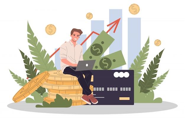 Biznesowi rozwiązania dla finansowej ilustraci