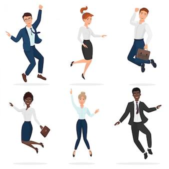 Biznesowi szczęśliwi ludzie skacze