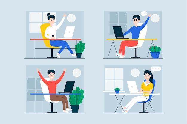Biznesowi urzędnicy pracujący dzień i noc