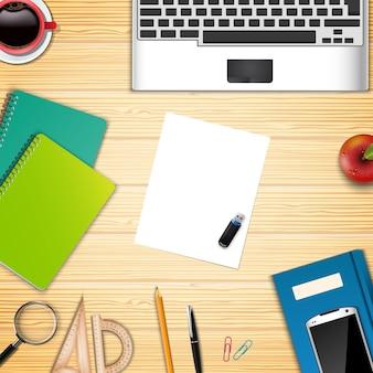 Biznesowy biuro i miejsce pracy odgórnego widoku tło