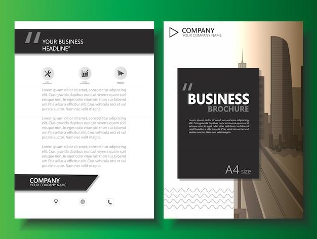 Biznesowy broszurka ulotki rocznika wektoru szablon
