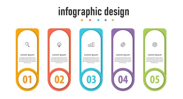 Biznesowy element infograficzny z 5 opcjami kroków numer szablonu projektu