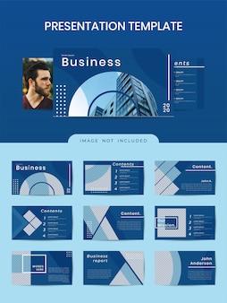 Biznesowy geometryczny szablon powerpoint z klasycznym niebieskim kolorem