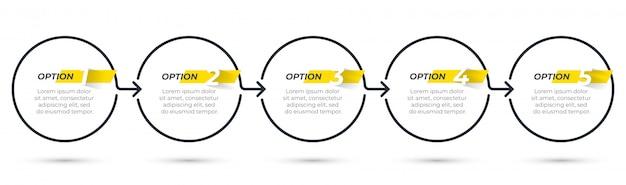 Biznesowy infografika szablon cienka linia z ikonami i 5 opcjami lub krokami.