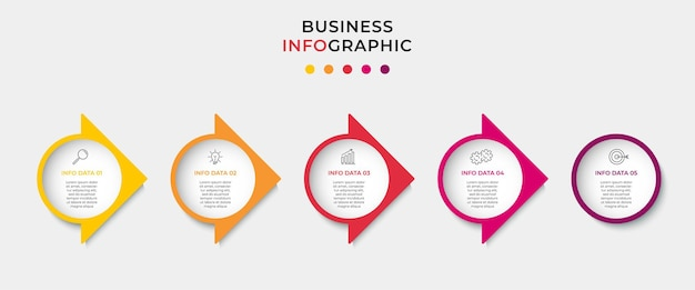 Biznesowy infografika szablon projektu z ikonami i 5 pięcioma opcjami lub krokami.