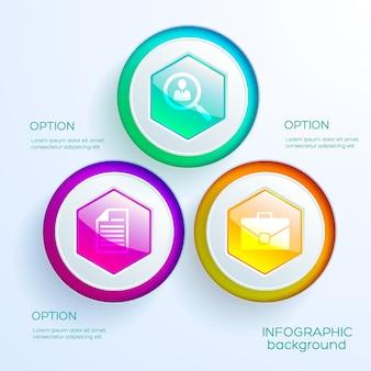 Biznesowy infografika szablon wykresu internetowego z trzema kolorowymi błyszczącymi sześciokątnymi przyciskami i ikonami na białym tle