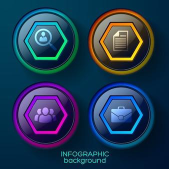 Biznesowy infografika szablon z czterema kolorowymi błyszczącymi elementami sieci web i ikonami