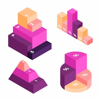 Biznesowy infografiki izometryczny projekt wykresu