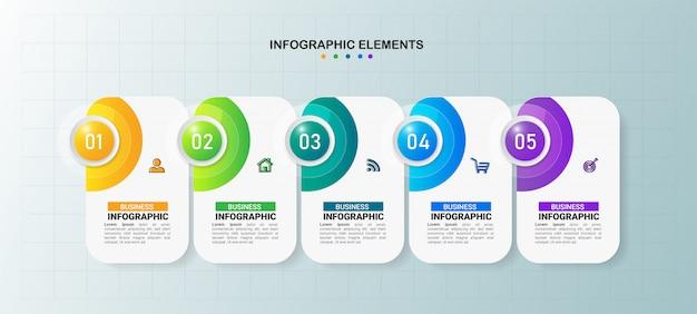Biznesowy infografiki szablon 5 kroków