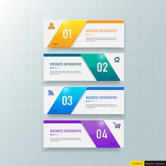 Biznesowy infografiki szablon z czterema krokami