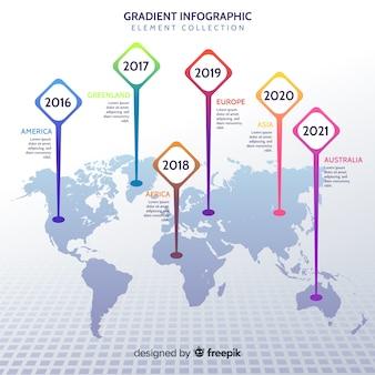Biznesowy infograhic z mapą świata