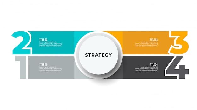 Biznesowy infographic diagram z numerowymi opcjami, kroki.