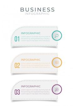 Biznesowy infographic element z 3 opcjami, krokami, numerowy szablonu projekt