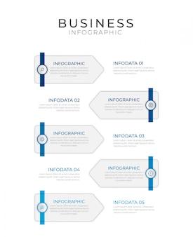 Biznesowy infographic element z 5 opcjami, krokami, numerowy szablonu projekt