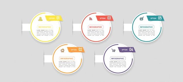 Biznesowy infographic element z 5 opcjami.