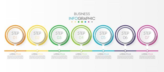 Biznesowy infographic element z 7 opcjami lub krokami