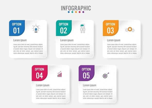 Biznesowy infographic etykietka szablon z 5 opcjami
