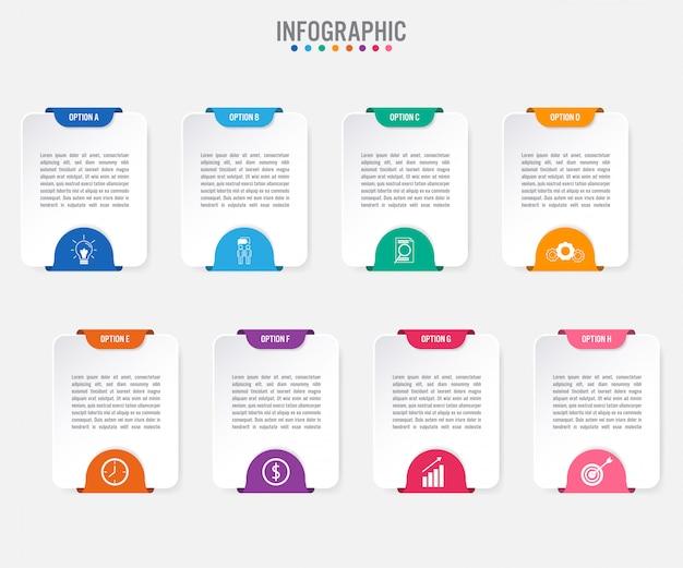 Biznesowy infographic etykietka szablon z 8 opcjami
