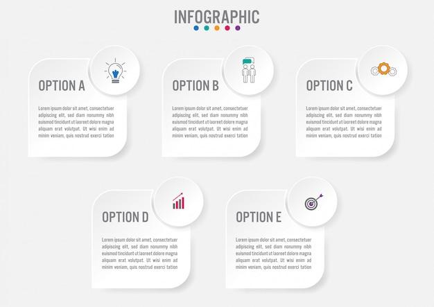 Biznesowy infographic etykietka szablon z pięć opcjami