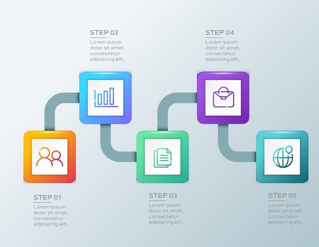 Biznesowy infographic pięć kroków szablon