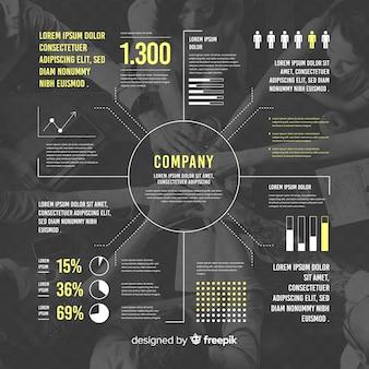Biznesowy infographic płaski projekt z fotografią