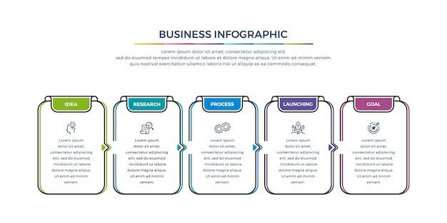 Biznesowy infographic projekt z opcj kolorami i prostymi ikonami.