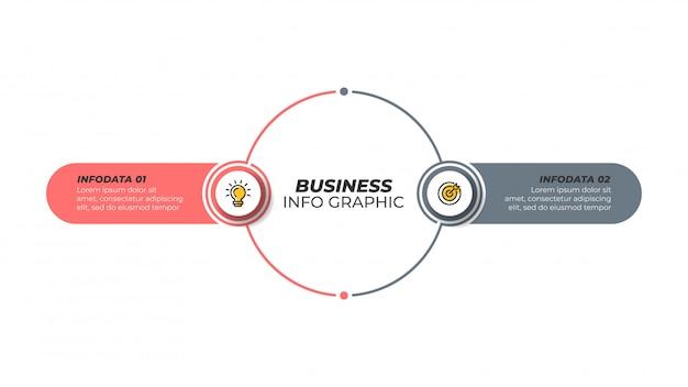 Biznesowy infographic projekta szablon z marketingowymi ikonami i 2 opcjami, kroki.