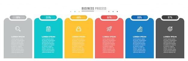Biznesowy infographic szablon. nowoczesny prostokątny kształt z listwą procesową i 6 krokami, opcje.
