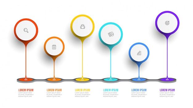 Biznesowy infographic szablon. oś czasu z ikonami i 6 opcjami lub krokami.