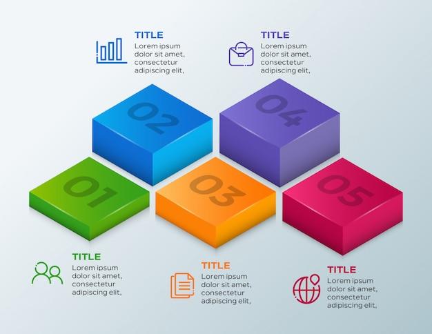 Biznesowy infographic szablon pięć kroków 3d