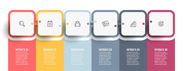 Biznesowy infographic szablon. tabela procesów oś czasu z ikonami i 6 opcjami lub krokami.