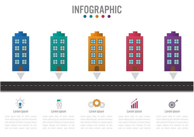 Biznesowy infographic szablon z 5 budynkiem