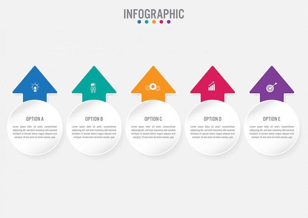 Biznesowy infographic szablon z 5 opcjami