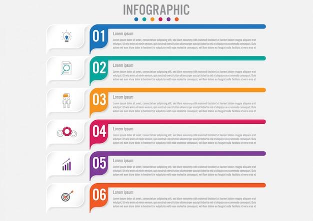 Biznesowy infographic szablon z 6 opcjami