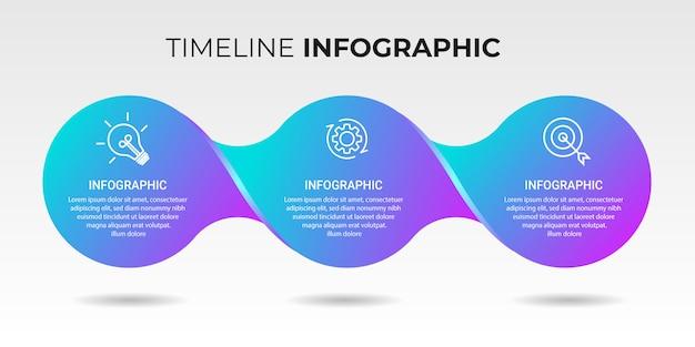 Biznesowy infographic szablon z ikonami i liczbami 3 opcje lub kroki