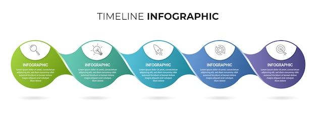 Biznesowy infographic szablon z ikonami i liczbami 5 opcje lub kroki