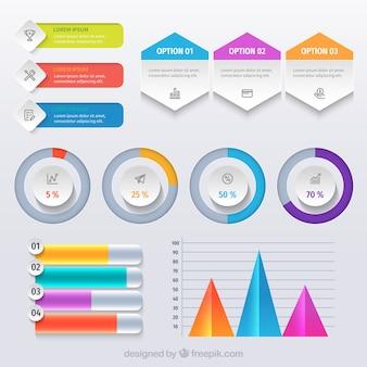 Biznesowy infographic szablon z kolorowymi kształtami