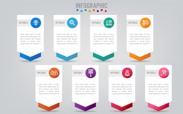 Biznesowy infographic szablon z opcjami.