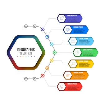 Biznesowy infographic szablon z siedem realistycznymi sześciokątnymi elementami z cienkimi kreskowymi ikonami na białym tle.