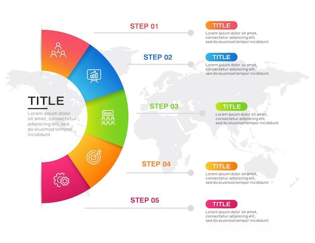 Biznesowy infographic z 5 krokami