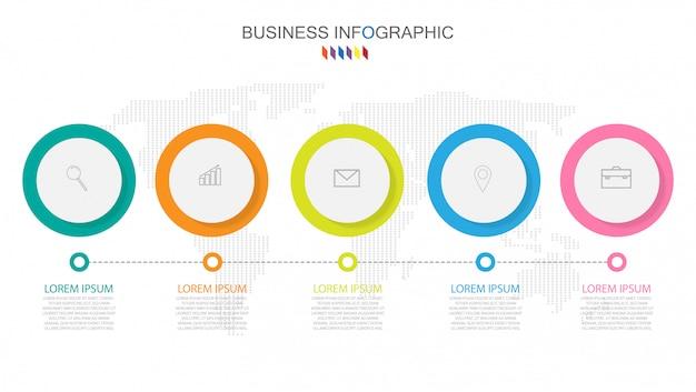 Biznesowy infographics szablon pojęcie 5 pełnego koloru opcja.