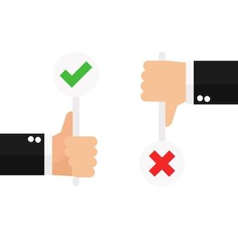 Biznesowy kciuk ręki up z prawdziwym i fałszywym znakiem