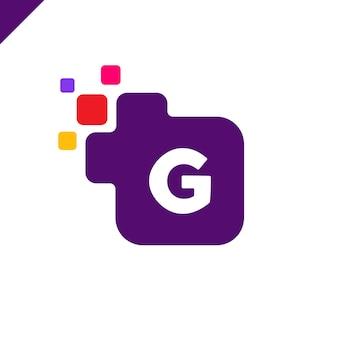 Biznesowy korporacyjny kwadratowy listowy g chrzcielnicy loga projekta wektor. kolorowy cyfrowy list alfabet szablon dla technologii. logo pixel