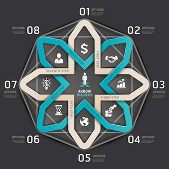 Biznesowy kroka strzałkowaty okręgu origami styl.