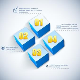 Biznesowy kwadratowy diagram z polami tekstowymi i liczbami