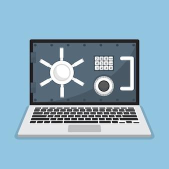 Biznesowy laptop z drzwiami skarbca na monitorze