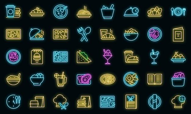 Biznesowy lunch zestaw ikon wektor neon