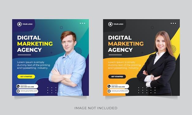 Biznesowy marketing społecznościowy szablon transparent postu