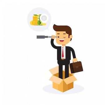 Biznesowy mężczyzna główkowanie z pudełka