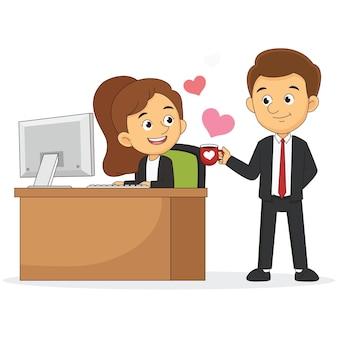 Biznesowy mężczyzna i kobieta zakochuje się w filiżance kawy